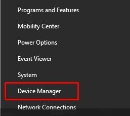 Start button and select Device Manager
