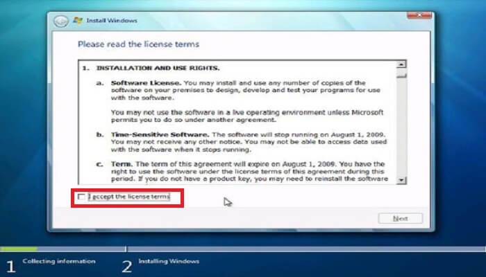 How to install windows - Accept licience key