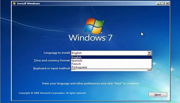 Install Windows 7  - select language