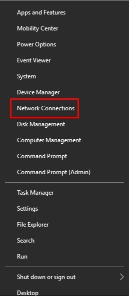 select Network Connections.