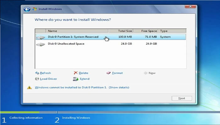 How to install windows - select partation